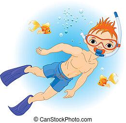 água, menino, natação, sob