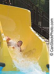 água, menino, parque