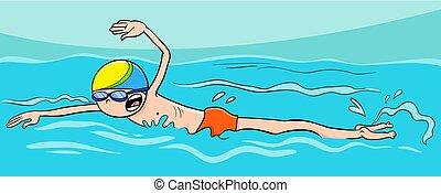 água, menino, personagem, caricatura, natação