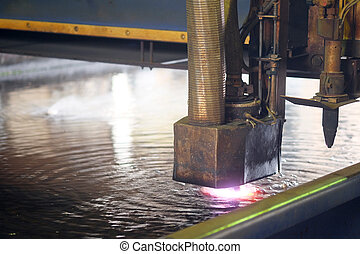 água, metal, máquina cortante, laser
