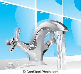 água, metal, torneira