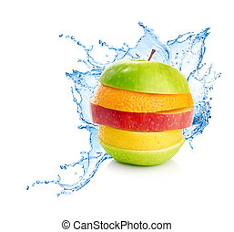 água, mistura, respingo, fruta