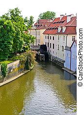 água, moinho, ligado, rio vltava, em, praga, república tcheca