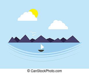 água, montanha, cena