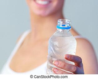 água, mulher, close-up, garrafa, foco