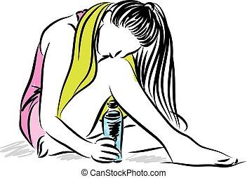 água, mulher, garrafa, condicão física