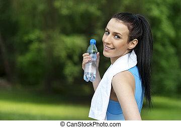 água, mulher, garrafa, jovem