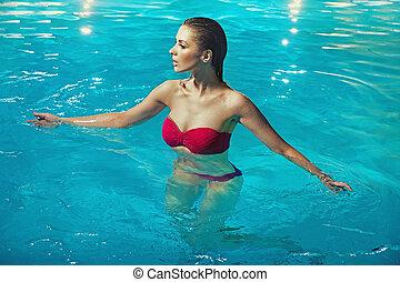 água, mulher, sensual, puro