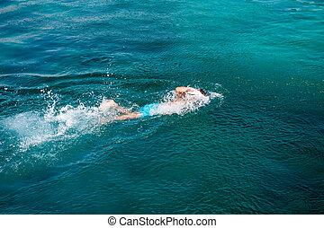 água, nadador
