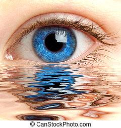 água, olho humano, refletido, superfície