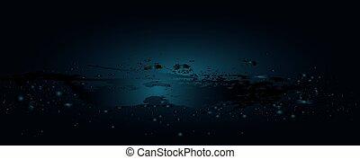 água, onda, com, bolhas