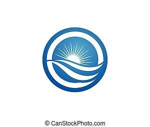 água, onda, logotipo, modelo