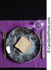 água, pão, refeição, reduzido, emprestado