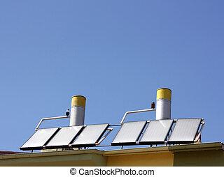 água, painéis, aquecimento, solar