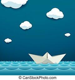 água, papel, surface., bote, bóias