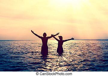 água, par, feliz