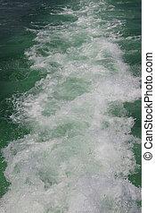 água, pegada, de, a, bote, movimento, ligado, a, mar