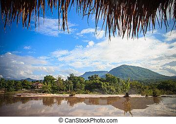 água, pesado, baixo, watercourse, muito, lama, selva, despejar, após