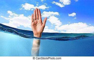 água, pessoa, afogamento, mão