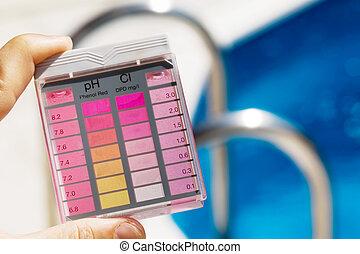 água, ph, testar, piscina, cloro