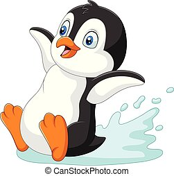 água, pingüim, deslizamento, caricatura