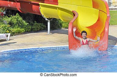 água, piscina, menina, escorregar