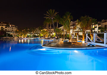 água, piscina, noturna