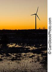 água, planície, moinho de vento, reflexões, silueta, paisagem