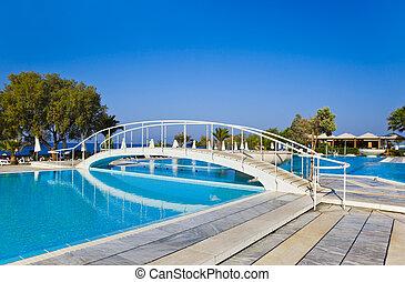 água, ponte, piscina