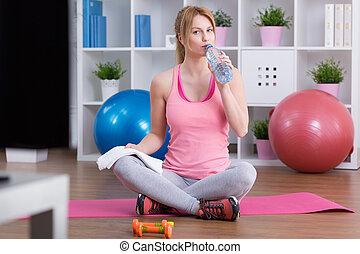 água potável, após, treinamento