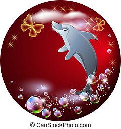 água, pulos, fundo, nuvens, golfinho