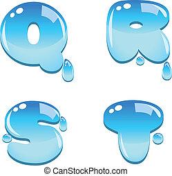 água, q, t, fonte, tipo