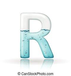 água, r, limpo, letra, 3d
