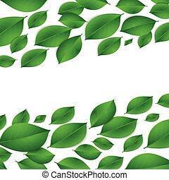 água, realístico, folhas, verde, d