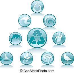água, reciclagem, ícones