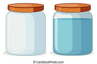 água, recipientes, dois, withou