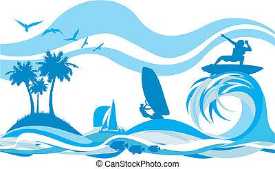 água, recr, onda, -, esportes