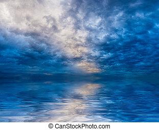 água, reflexões, skyscape