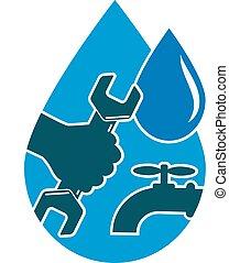 água, reparar, sy, encanamento, fornecer