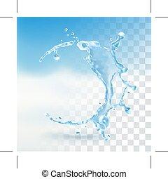 água, respingo, elemento