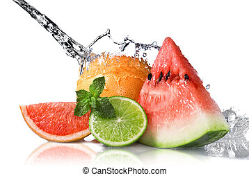 água, respingo, ligado, frutas frescas, isolado, branco