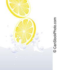 água, respingo, limão