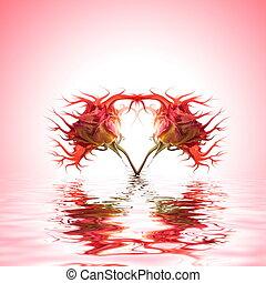 água, rosa, representado, mutante, broto