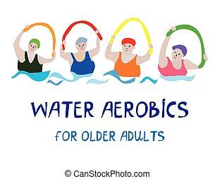 água, sênior, bandeira, aeróbica, mulheres