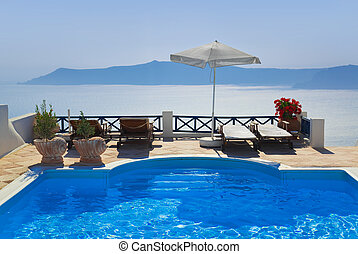 água, santorini, piscina, grécia