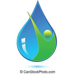 água saudável, gota, homem, logotipo