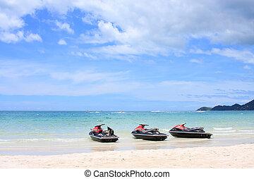 água, scooter, ligado, a, praia., koh samui