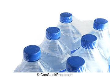 água, seis, garrafas, pacote