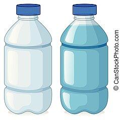 água, sem, garrafas, dois
