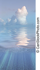 água, sereno, nuvens